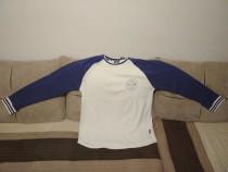 Bluza barbateasca Fabric, alba cu maneci albastre, XL, noua!