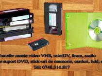 Transfer casete video:vhs,vhs-c,minidv pe dvd,usb-stick,hdd