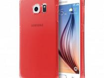 Husa silicon samsung galaxy s6 edge + g928 clear & red nou