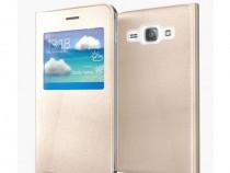 Husa FlipCover Book Samsung GalaxyJ1 j100 Fashion Gold S-Vi