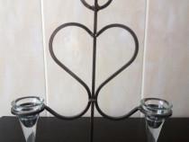 Sfesnic lumanari inalt, 2 brate , handmade, H 38 cm