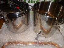 Cazan+racitor, inox, (distilare: alcol, tuica), ungaria. nou