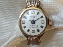 Ceas vechi de aur Anker 17 jewels cu 2 diamante