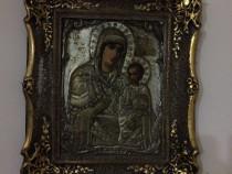 Icoana veche 100 ani pe metal Maica Domnului si Iisus