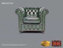 Fotoliu Chesterfield Brighton Classic,Verde antic,Piele