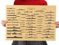 Poster vintage World War II Battleship nave hartie kraft