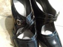 Pantofi dama cu bareta, marimea 37, piele naturala lucioasa