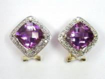 Cercei Aur Vintage 14K Piatra Ametist Si Diamante
