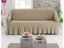 Husa elastica pentru o canapea cu 3 locuri Bej Inchis