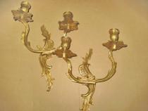 Set 2 Aplice electrice cu 2 brate stil Rococo Franta bronz.