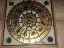 Pictura pe sticla cu praf de aur zodiac astral