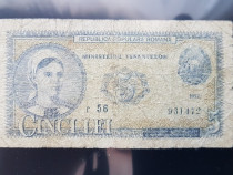 1 Bancnota 5 lei pusa in circulatie in anul 1952