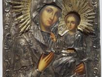 Icoana Maica Domnului din Kazan argint 875 la mie an 1843