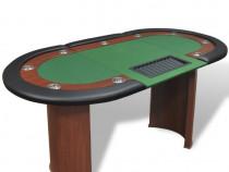 Masă poker 10 persoane, zonă dealer și suport jetoane(80133)