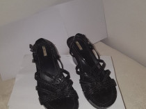 Sandale negre dama, din piele, GEOX, marimea 40