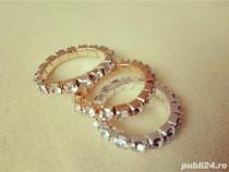 Inele elastice cu pietricele gold/silver