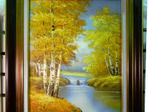 Tablou pictat manual pe panza in ulei Peisaj de Toamna A-082