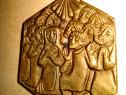 B194-Pandativ vintage IISUS cu cei 12 Apostolii bronz masiv.