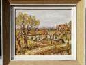 Tamara Motiu 1983 Tablou Peisaj din Mahala pictura in ulei