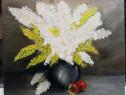Tablou Natura statica cu Flori pictura ulei pe panza 60x70cm