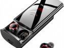 Casti bluetooth 5.0 Delinuo 6000mAh IPX6, mic digital, sport