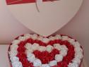 Aranjament inima 62 trandafiri de sapun parfumati.