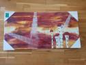 Tablou sigilat pictat manual panza 100 x 50 cm Franta