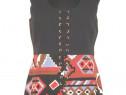 Sarafan din bumbac creponat, cu print geometric colorat