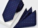 Set Cravata si Batista Bleumarin cu Puncte
