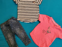 Set 3 piese (jeans+2 tricouri), 6-12 luni/74