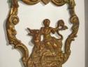 3961-Aplica decor antica in bronz-Femeie cu bovina anii 1900