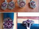 Set argint cu marcasite + rubin - inel, cercei, medalion (1)