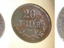 20 Filler 1917 KB bronz moneda maghiara Imperiul Austro