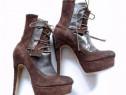 Pantofi handmade din piele întoarsă