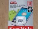 Card MicroSD 16 Gb SanDisk Ultra clasa 10, viteza 48 Mb