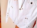 Geacă jeans alb imaculat, accesorii metalice,mărime S-M