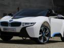 Masinuta electrica BMW i8 12V, Scaun tapitat, LED, Mp3, ALB