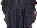 Top Fancy negru dantela crosetata integral macrame broderie