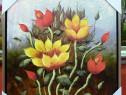 Tablou pictat manual pe panza in ulei , Peisaj cu flori A-3