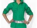 Camasa foarte trendy in pliuri verde
