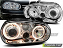 Faruri tuning Angel Eyes VW Golf 4 look R32 crom cu lupa NOU
