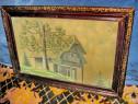 406a-Tablou vechi creion-Peisaj cu casa si pomi.