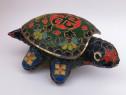 Broscuta țestoasă cutiuță bijuterii alamă emailată cloisonne