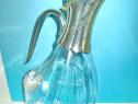 5550-Amfora sticla Lebada cu montura in metal argintat.