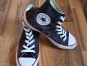 Converse All Star inalti negri din satin, marime 37.5, 24 cm
