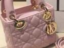 Genti mini Lady Dior,roz prăfuit,logo auriu,curea detasabila