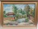 Tablou Peisaj Bucovinean cu Casa pictura ulei 45x60cm
