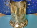 C401-I-Frapiera veche alama-bronz argintat cu anse marcata.