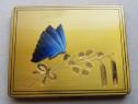 C743-I-Pudriera veche alama aurita Fluture albastru emailat.
