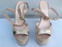 Pantofi de vara sandale piele cu toc platforma, M 38, Ovye